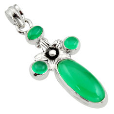 925 sterling silver 9.39cts natural green chalcedony flower pendant r15278