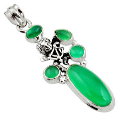 11.48cts natural green chalcedony 925 sterling silver angel pendant r15279
