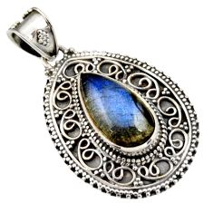 925 sterling silver 8.03cts natural blue labradorite pear pendant jewelry r15280
