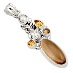 11.22cts brown smoky topaz citrine pearl 925 sterling silver owl pendant r15281