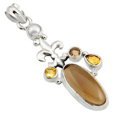 10.33cts brown smoky topaz citrine 925 sterling silver pendant jewelry r15283