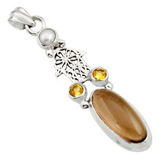 925 silver 10.02cts brown smoky topaz citrine hand of god hamsa pendant r15284