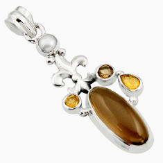 10.89cts brown smoky topaz citrine 925 sterling silver pendant jewelry r15285