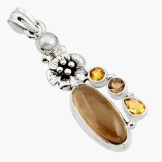 10.54cts brown smoky topaz citrine 925 sterling silver flower pendant r15286