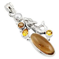 10.45cts brown smoky topaz citrine pearl 925 silver fairy mermaid pendant r15287