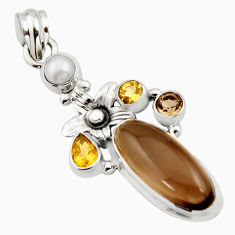 10.52cts brown smoky topaz citrine 925 sterling silver flower pendant r15289
