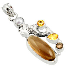 11.48cts brown smoky topaz citrine pearl 925 sterling silver fish pendant r15291