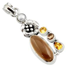 10.53cts brown smoky topaz citrine 925 sterling silver flower pendant r15292