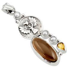925 silver 10.77cts brown smoky topaz citrine pearl eagle charm pendant r15295