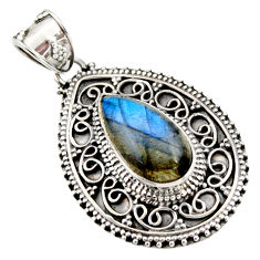 7.58cts natural blue labradorite 925 sterling silver pendant jewelry r15296