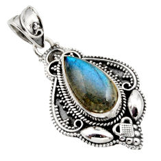 6.48cts natural blue labradorite 925 sterling silver pendant jewelry r15298