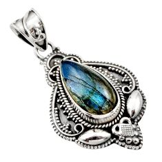 925 sterling silver 6.63cts natural blue labradorite pendant jewelry r15299