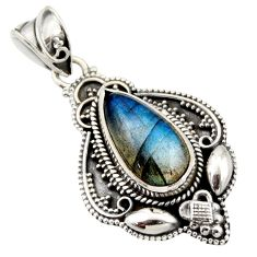6.63cts natural blue labradorite 925 sterling silver pendant jewelry r15300