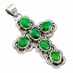 9.98cts natural green emerald 925 sterling silver holy cross pendant r15303