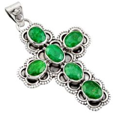 925 sterling silver 10.04cts natural green emerald holy cross pendant r15304