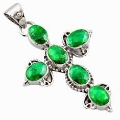 9.47cts natural green emerald 925 sterling silver holy cross pendant r15305