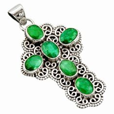 9.44cts natural green emerald 925 sterling silver holy cross pendant r15308