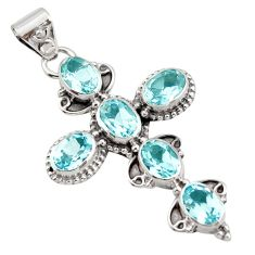 9.45cts natural blue topaz 925 sterling silver holy cross pendant jewelry r15311