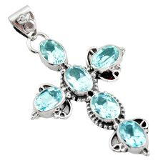 9.04cts natural blue topaz 925 sterling silver holy cross pendant jewelry r15313