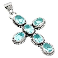 925 sterling silver 9.47cts natural blue topaz holy cross pendant jewelry r15314