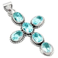 9.47cts natural blue topaz 925 sterling silver holy cross pendant jewelry r15315