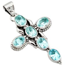 10.24cts natural blue topaz oval 925 sterling silver holy cross pendant r15316