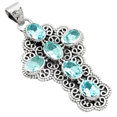 9.65cts natural blue topaz 925 sterling silver holy cross pendant jewelry r15317