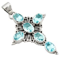 9.47cts natural blue topaz 925 sterling silver holy cross pendant jewelry r15319