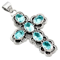 9.37cts natural blue topaz 925 sterling silver holy cross pendant jewelry r15320
