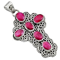 9.13cts natural red ruby 925 sterling silver holy cross pendant jewelry r15323
