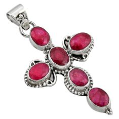 9.50cts natural red ruby 925 sterling silver holy cross pendant jewelry r15330
