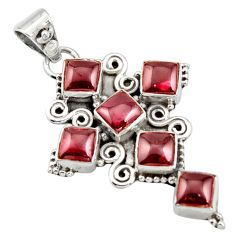 8.77cts natural red garnet 925 sterling silver holy cross pendant jewelry r15342