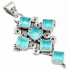 8.43cts natural aqua chalcedony 925 sterling silver holy cross pendant r15346