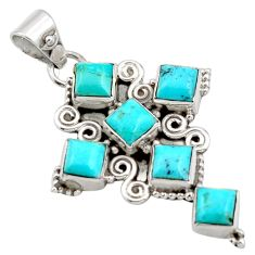 8.40cts blue arizona mohave turquoise 925 silver holy cross pendant r15350