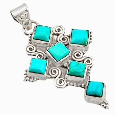 8.03cts blue arizona mohave turquoise 925 silver holy cross pendant r15351