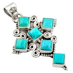 925 silver 8.03cts blue arizona mohave turquoise holy cross pendant r15352