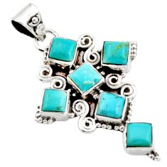 8.03cts blue arizona mohave turquoise 925 silver holy cross pendant r15353