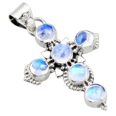 5.23cts natural rainbow moonstone 925 sterling silver holy cross pendant r15355