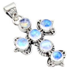 925 sterling silver 5.82cts natural rainbow moonstone holy cross pendant r15356