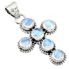 5.38cts natural rainbow moonstone 925 sterling silver holy cross pendant r15357