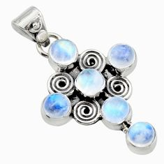 5.63cts natural rainbow moonstone 925 sterling silver holy cross pendant r15358