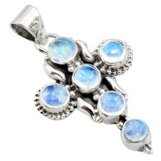 925 sterling silver 5.36cts natural rainbow moonstone holy cross pendant r15360