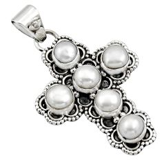 5.74cts natural white pearl 925 sterling silver holy cross pendant r15364