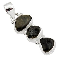 3 gems combo natural black tourmaline rough 925 sterling silver pendant r15962
