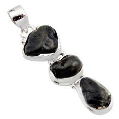 Black tourmaline rough 925 sterling silver past present future pendant r15965