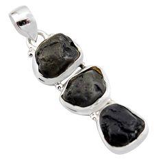Natural black tourmaline 925 sterling silver past present future pendant r15967