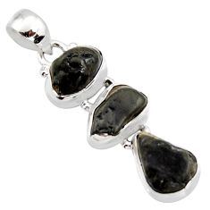 14.88cts natural black tourmaline rough 925 sterling silver pendant r15970