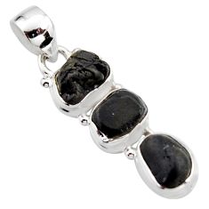 12.03cts natural black tourmaline rough 925 sterling silver pendant r15971