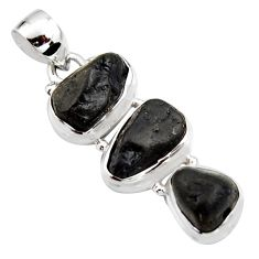 16.46cts natural black tourmaline rough 925 sterling silver pendant r15979