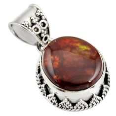925 silver 11.89cts natural multi color mexican fire agate fancy pendant r15984